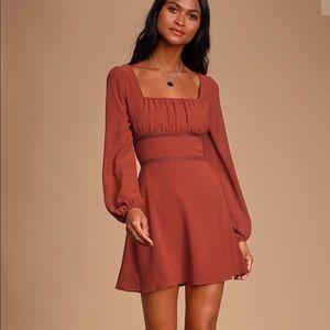 Loving Memories Rudy Red Long Sleeve Crochet Dress